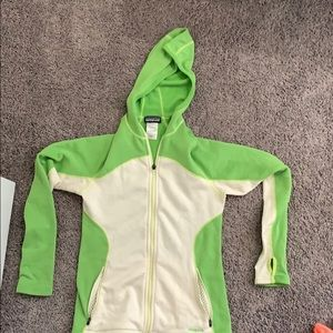 Green and white full zip light weight Patagonia